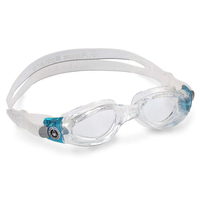 Aqua Sphere Kaiman Small Men's Swimming Goggles Transparent/Turquoise Clear
