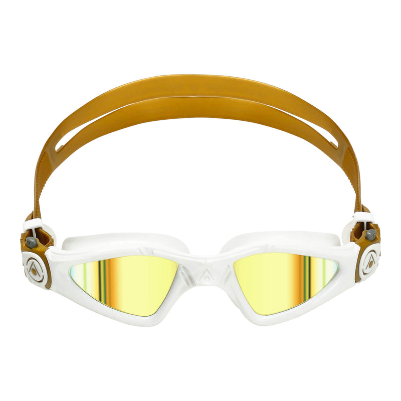 Aqua Sphere Kayenne Small Men's Swimming Goggles White/Gold Mirror Gold Alternate 1