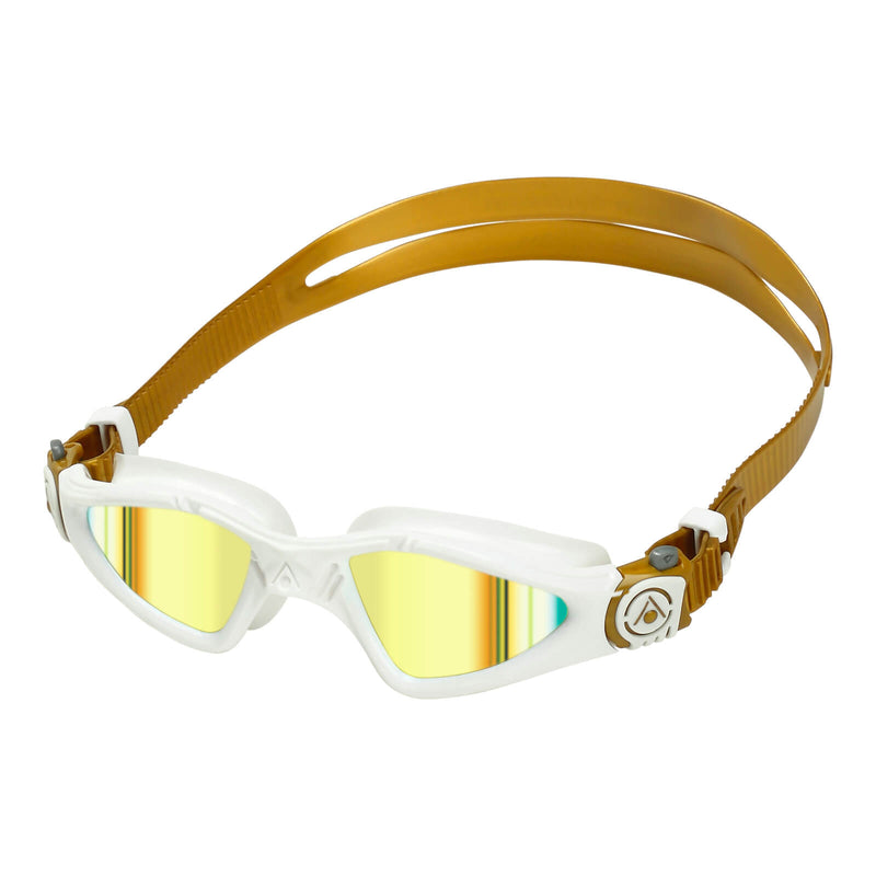 Aqua Sphere Kayenne Small Men's Swimming Goggles White/Gold Mirror Gold Alternate 2