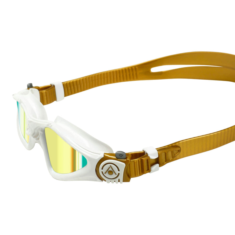 Aqua Sphere Kayenne Small Men's Swimming Goggles White/Gold Mirror Gold Alternate 3