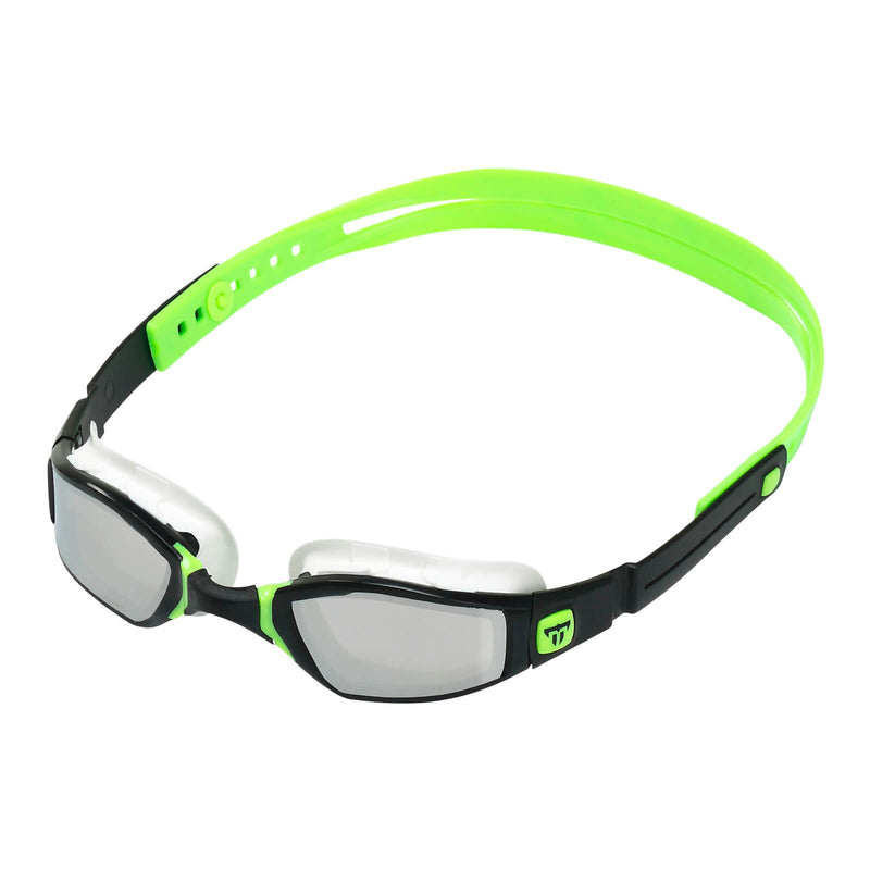 Phelps Ninja Men's Swimming Goggles Black/Green Mirror Silver Alternate 2