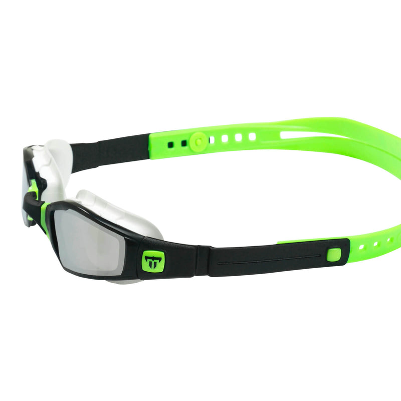 Phelps Ninja Men's Swimming Goggles Black/Green Mirror Silver Alternate 3