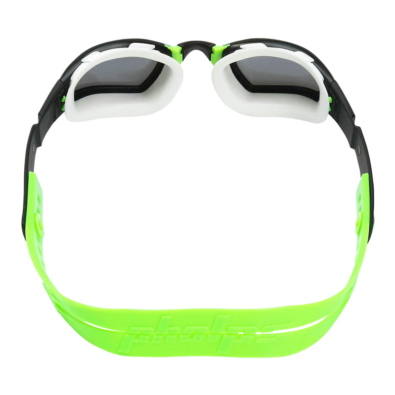 Phelps Ninja Men's Swimming Goggles Black/Green Mirror Silver Alternate 4