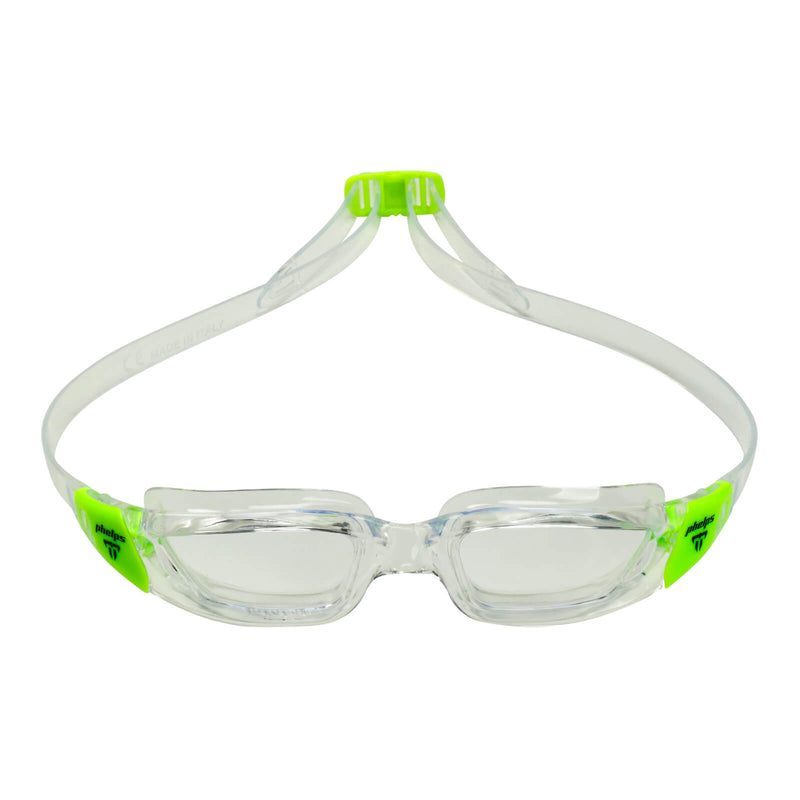 Phelps Tiburon Junior Kid's Swimming Goggles Transparent/Bright Green Clear Alternate 1