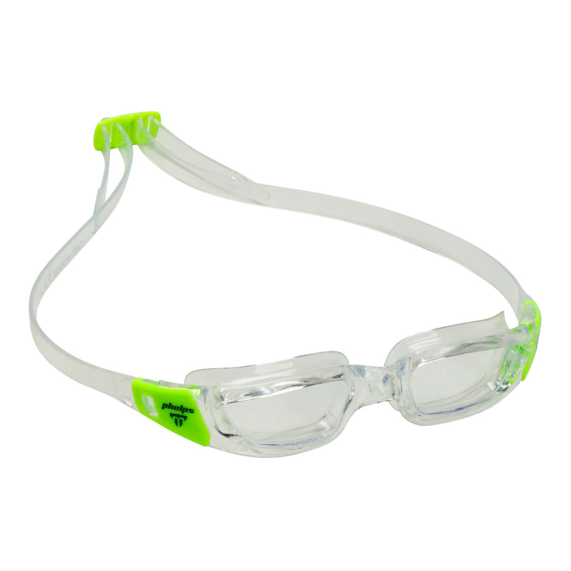 Phelps Tiburon Junior Kid's Swimming Goggles Transparent/Bright Green Clear