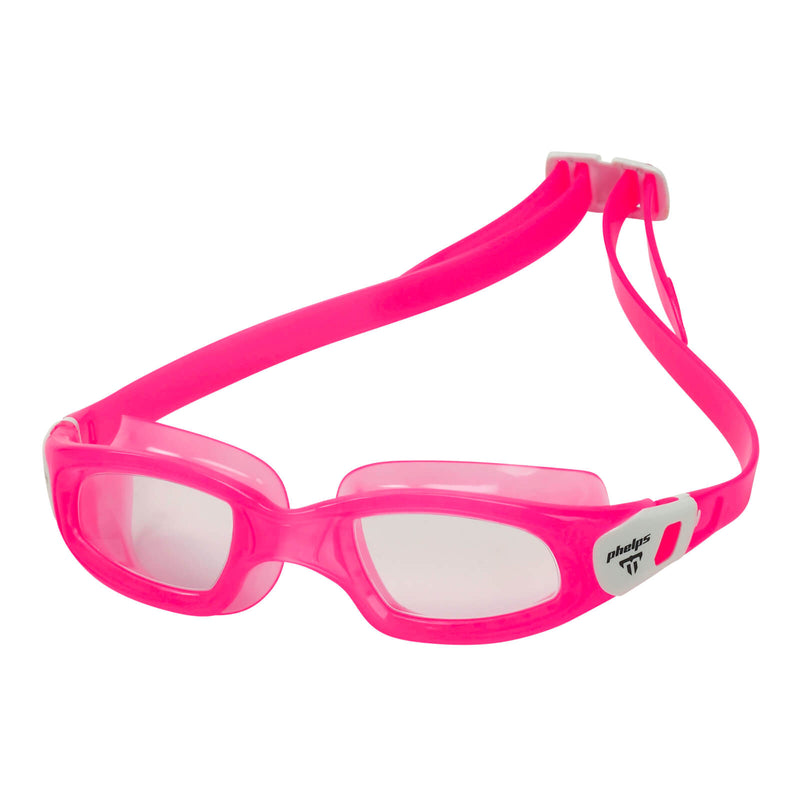 Phelps Tiburon Kid Kid's Swimming Goggles Pink/White Clear Alternate 2