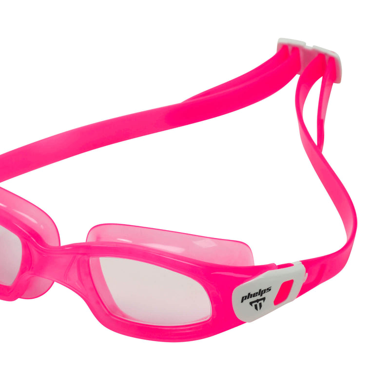 Phelps Tiburon Kid Kid's Swimming Goggles Pink/White Clear Alternate 3
