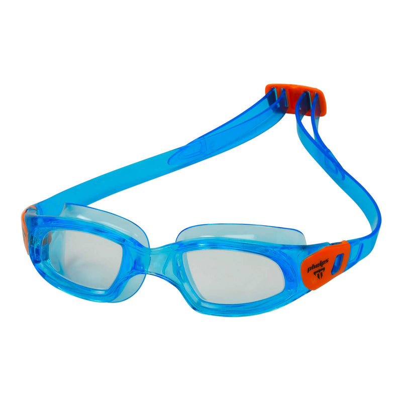 Phelps Tiburon Kid Kid's Swimming Goggles Turquoise/Orange Clear Alternate 2