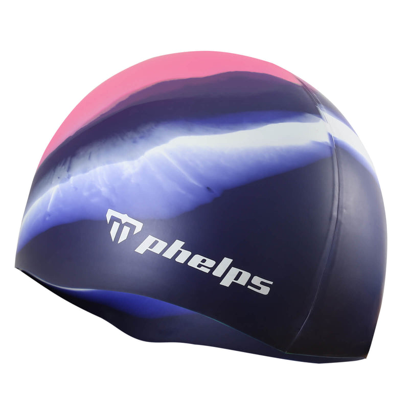 Phelps Classic Junior Men's Swimming Cap Pink/Navy Blue