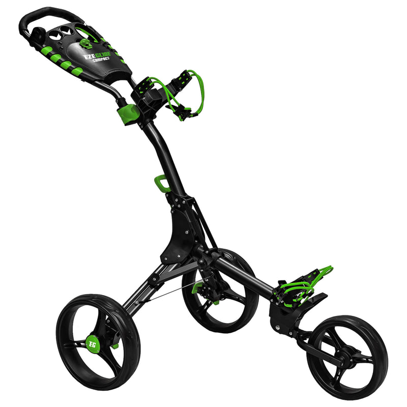 Ezeglide Compact Plus Push Golf Club Trolley Charcoal Lime