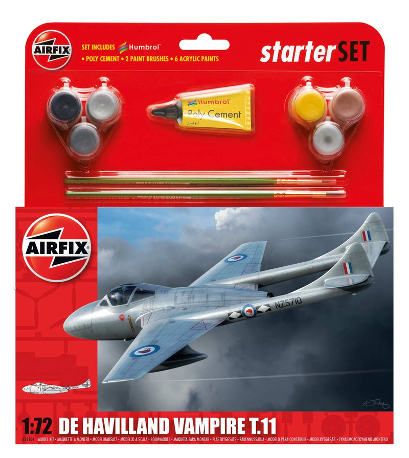 Airfix De Havilland Vampire T11 Medium Starter Set Model Kit