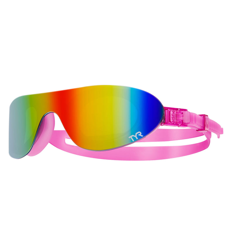 TYR Mirrored Swimming Sun Shade Goggles - Rainbow Pink/Pink