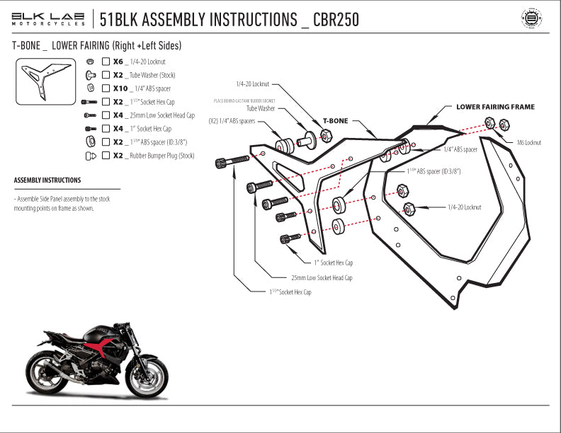 51BLK-S for the CBR250 with single seat