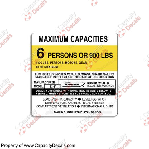Boston Whaler Capacity Plate Decals Boat Maximum Occupancy Multiple Variations