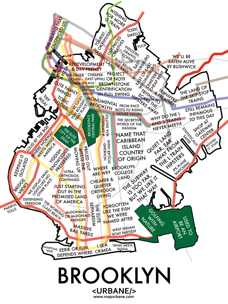 Brooklyn Neighborhood Culture Map Print Urbane Map Store