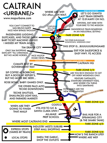Bay Area CalTrain: Transit Line Map