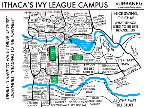 Ithaca's Ivy League: Campus Culture Map T-Shirt