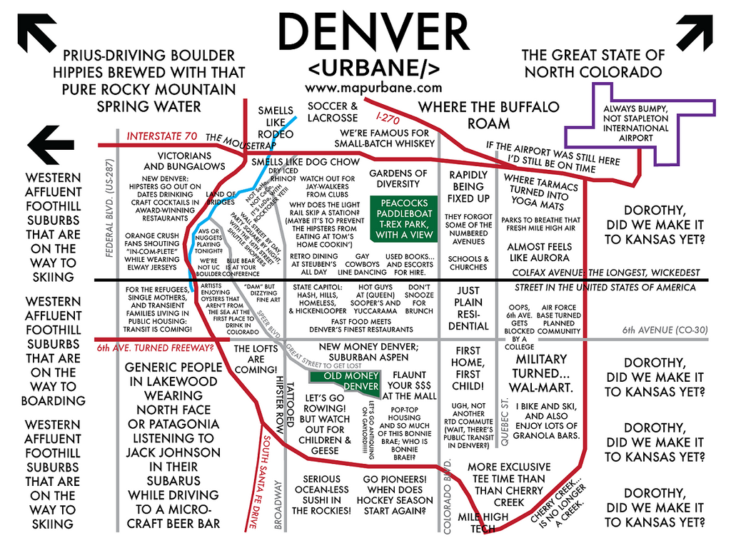 Denver Neighborhood Culture Map Urbane Map Store