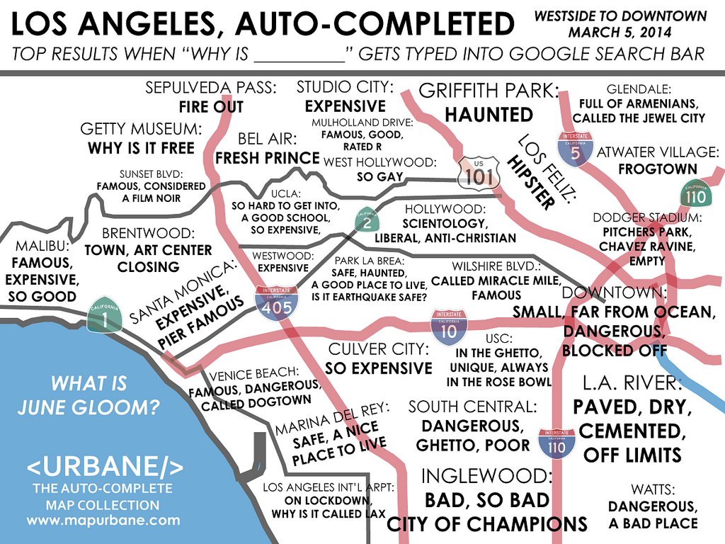Bad Areas Of Los Angeles Map.Westside Los Angeles Auto Complete Map Urbane Map Store
