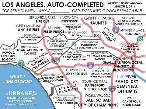 Westside Los Angeles: Auto-Complete Map T-Shirt