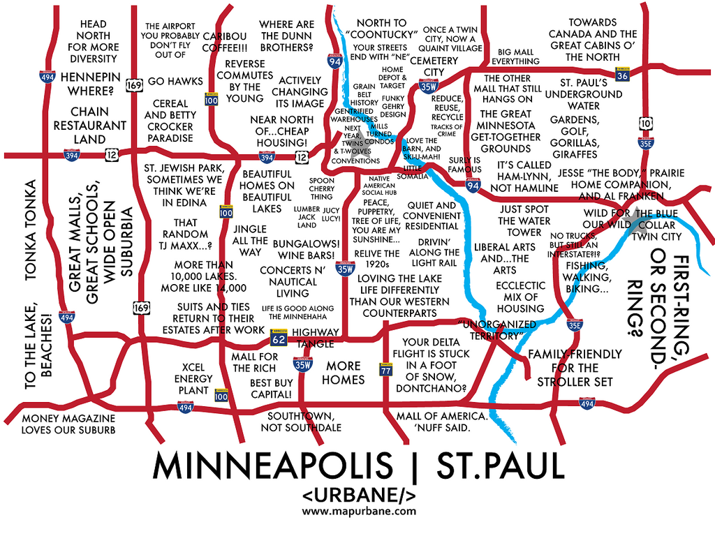Minneapolis St. Paul: Neighborhood Culture Map Mug