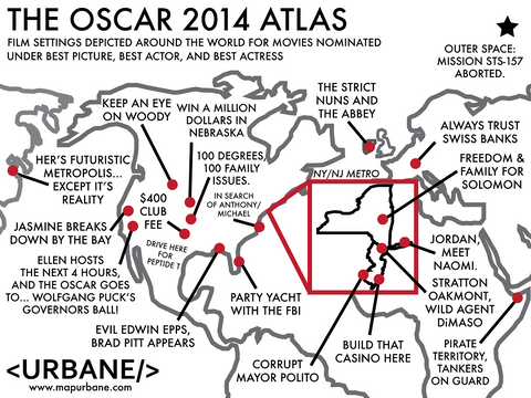 2014 Oscars: International Film Atlas Canvas Tote