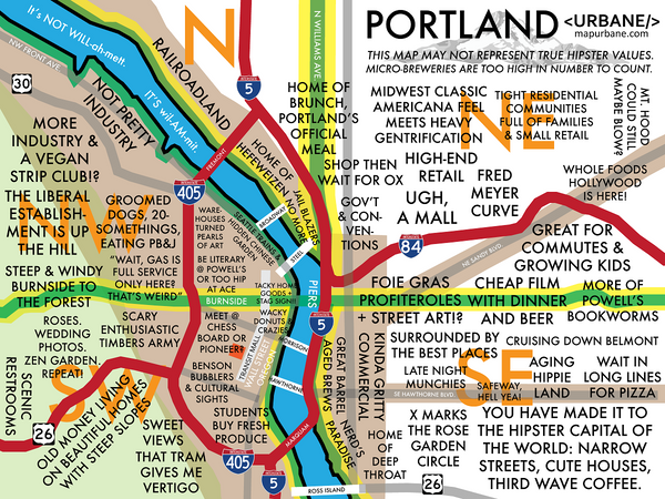 Portland Neighborhood Culture Map  Urbane Map Store