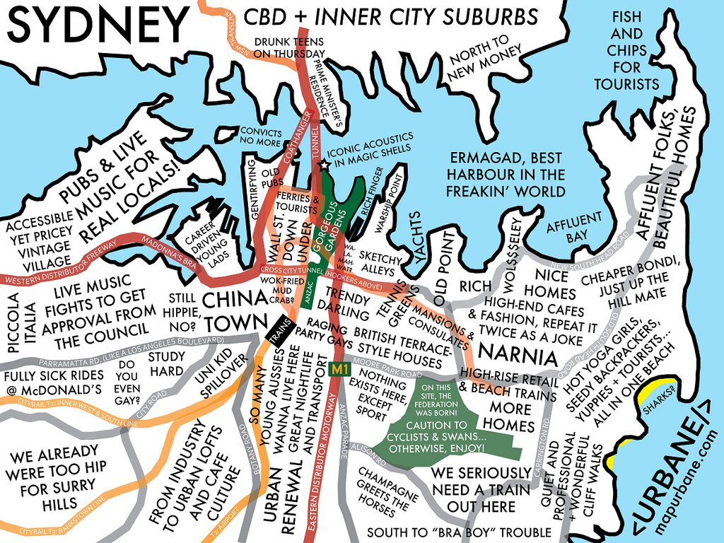 Sydney Neighborhood Culture Map Urbane Map Store