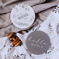 Snuggle Hunny Wild Fern & Grey - Organic Muslin Wrap and Milestone Cards