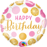 Happy Birthday - Pink and Gold Dots