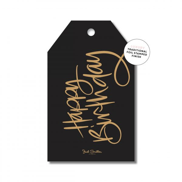 Birthday Script - Black with gold