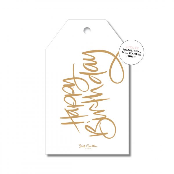 Birthday Script - White with Gold