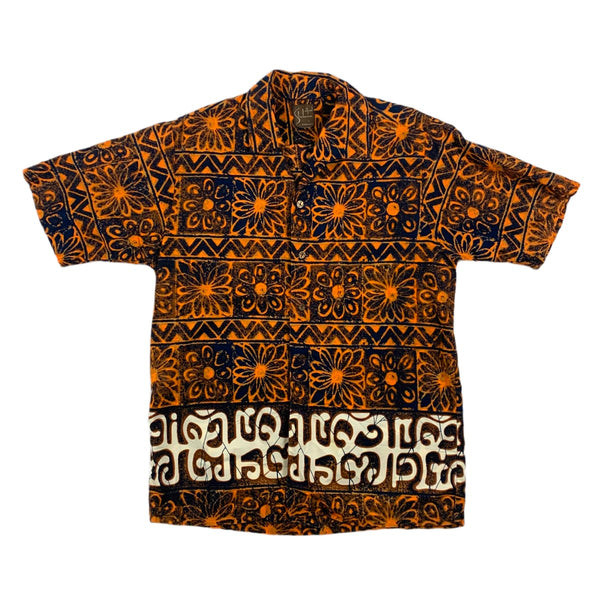 Alfred Shaheen Orange & Black Floral Shirt