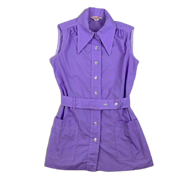 Lilac Sleeveless Pointed Collar Top