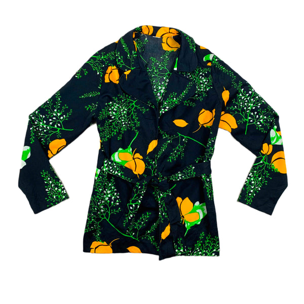 Black & Yellow Tie Front Floral Top