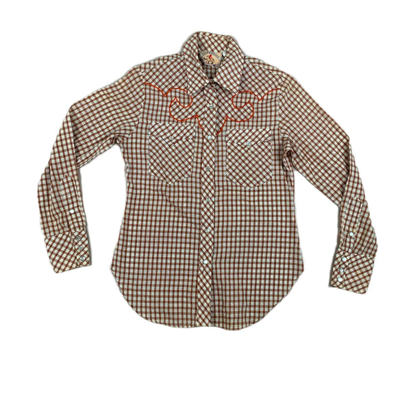 Shirtworks Brown Plaid Western Top