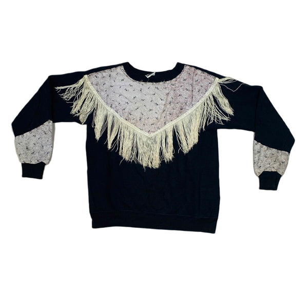 Black & Cream Fringed Sweatshirt