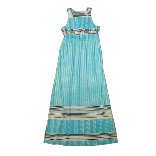 Pale Blue & Black Printed Maxi Dress