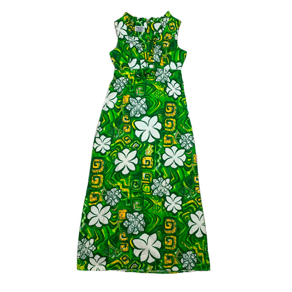 Aloha Green Bark Cloth Maxi Dress