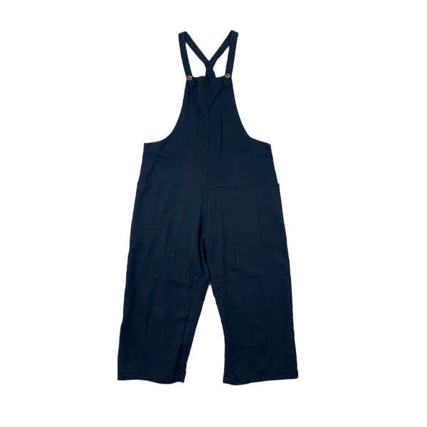 NEW Heart & Hips Black Cropped Linen Overalls