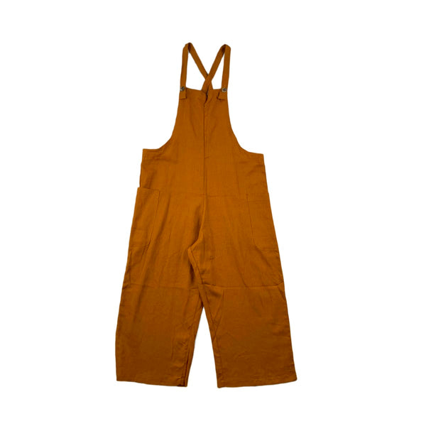 NEW Heart & Hips Rust Cropped Linen Overalls