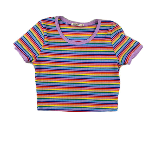 NEW Hearts & Hips Lavender Rainbow Striped Tee