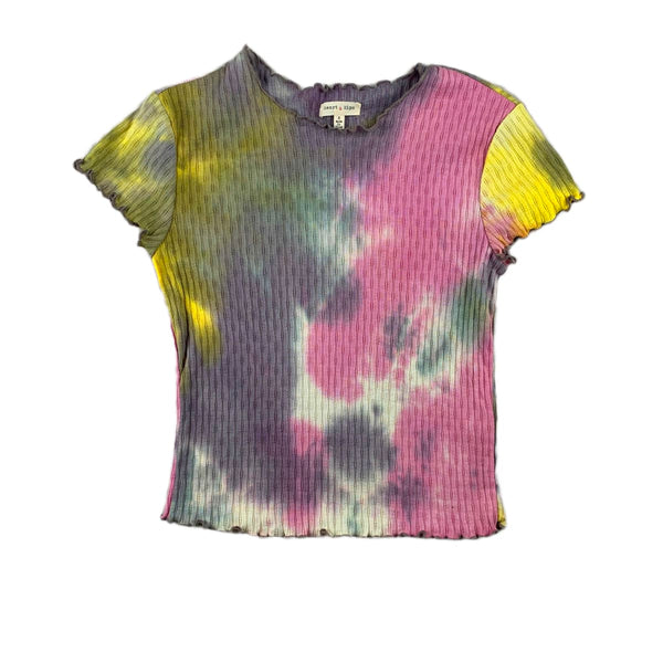 NEW Hearts & Hips Pink & Gray Tie Dye Tee