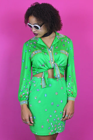 Bright Green Embellished Print Two Piece