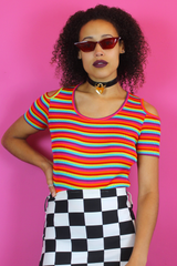 Rainbow Stripe Cut Out High Leg Body