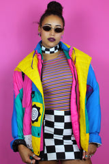 Amazing Colour Block Ski Bomber Jacket
