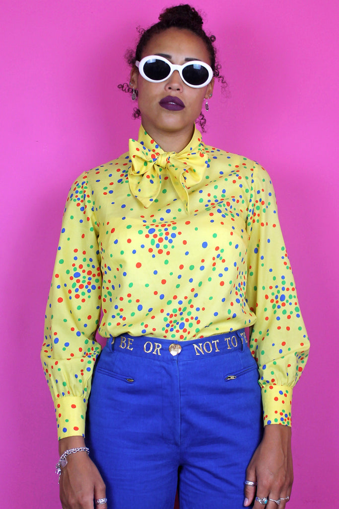 Yellow Polka Dot Pussybow Blouse