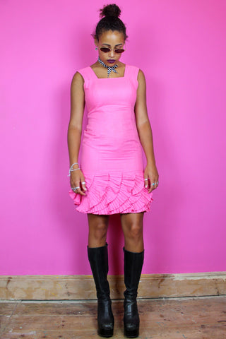 Bubblegum Pink Ruffle Cocktail Dress
