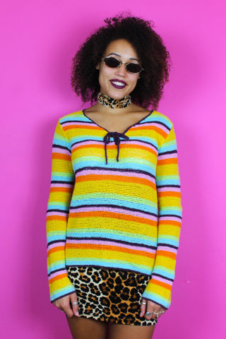 Rainbow Stripe Crochet Jumper