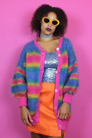 Fluffy Rainbow Oversized Cardigan